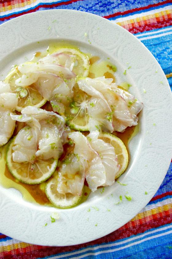 紅鯛魚生魚薄片與柑橘的搭配&洋梨水果醬油